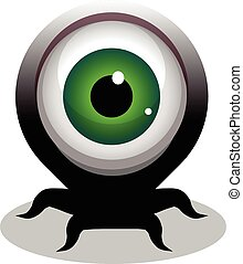 big eye crawling creepy cartoon character with tentacles