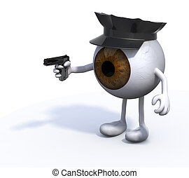 big eye with police cop and gun on hand