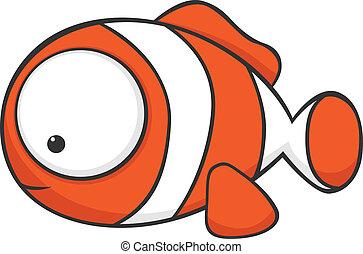 Cute cartoon clownfish with huge eyes