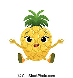 Big Eyed Cute Girly Pineapple Character Sitting, Emoji...