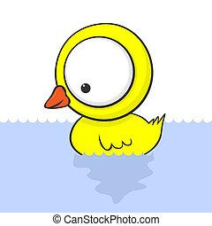Cute cartoon baby duck with huge eyes