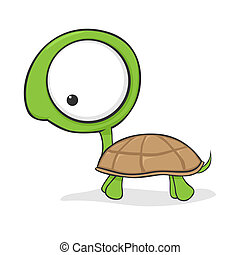 Cute and funny cartoon turtle with huge eyes