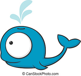 Cute and funny whale with huge eyes