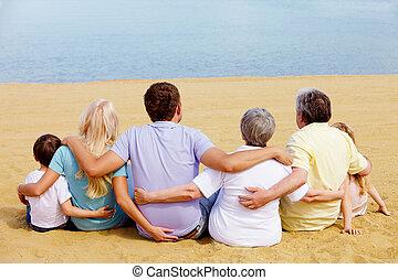 Big family - Backs of serene family members sitting on sandy...