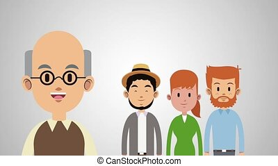Big family cartoon HD animation