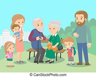 Big family characters with mother father grandmother grandfather kids baby child set. Vector. Familiar meeting in the park