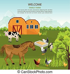 Big Family farm Vector. Cows, horse, chicken on green summer background