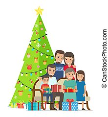 Big Family Gathered Near Christmas Tree with Gifts