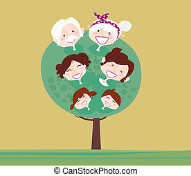 Family relationship tree Grandmother, grandfather, mother, father and childrens. Vector Illustration in vintage style.