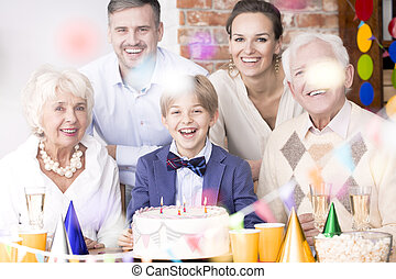 Big family having birthday party