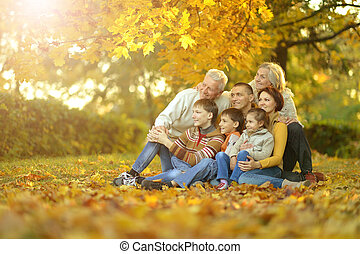 Big family having fun together in autumnal park