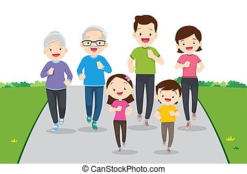 big family jogging and exercising together in public park. ...