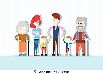 Big Family Kids Baby Twins Parents Grandparents Generation