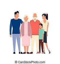Big Family Kids Parents Grandparents Generation Flat Vector...