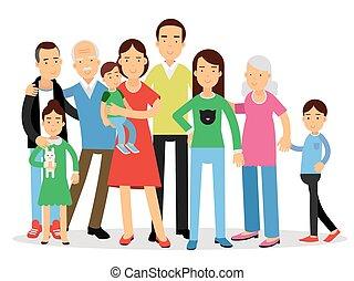 Big family, mom, dad , kids and grandparents vector Illustration