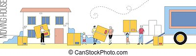 Big Family Moving House. Group Of People Carrying Huge Boxes With Household Items Together On The Background Of Building And Truck. Vector Linear Illustration With Outline And Cartoon Style Characters