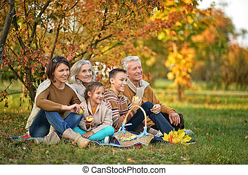 big family on picnic