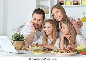 big family on the kitchen