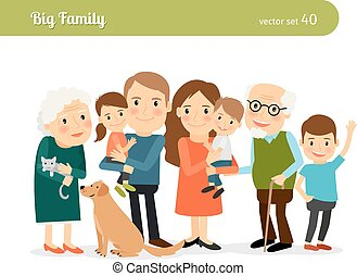 Big family portrait. Mom and Dad, grandparents, children,...