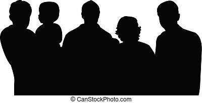 big family portrait, silhouette vector