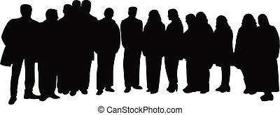 big family portrait, silhouette vector