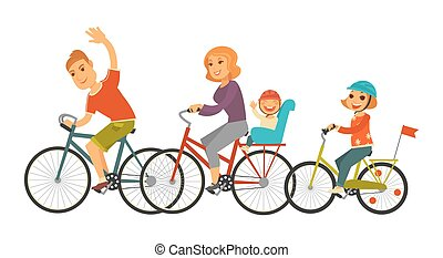 Big family rides bicycles together isolated cartoon illustration