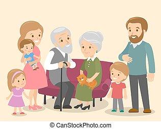 Big family together. Vector illustration of a flat design cat