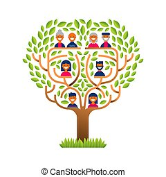 Big family tree with happy people icons