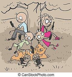 Big family under tree