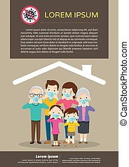 big family wearing a surgical mask to prevent virus covid-19
