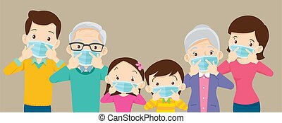 family and grandparent wearing protective Medical mask for coronavirus, Covid-19, Wuhan and show victory, family wearing protective Medical mask for prevent virus Covid 19 and victory hand.