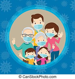 big family wearing a surgical mask to prevent virus - family...