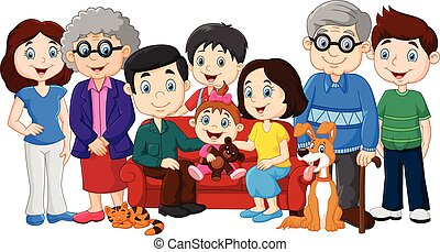 Big family with grandparents - Vector illustration of Big...