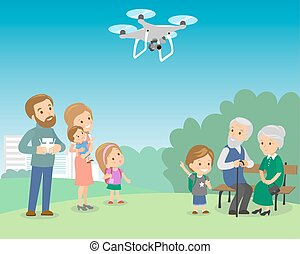 Big family with mother father grandmother grandfather kids baby child set. Drone in the park quadrocopter vector