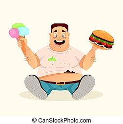 Big fat happy smiling man character mascot eating hamburger and ice cream fast food. Vector flat cartoon illustration