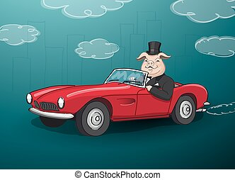 big fat rich hog driving a red cabrio