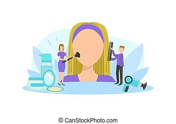 Big Female Faceless Head and Tiny People Visagistes Who Doing Makeup Flat Vector Illustration on White Background.