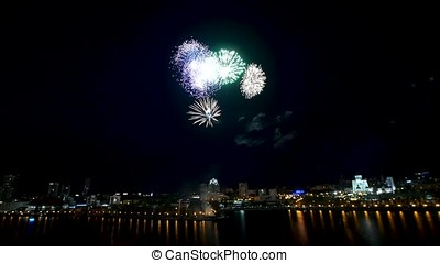 Big firework over the city. Beautiful big firework over the...