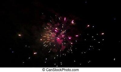 Big fireworks in the night summer sky, full HD video