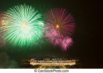 Big fireworks over Luzhniki stadium in Moscow
