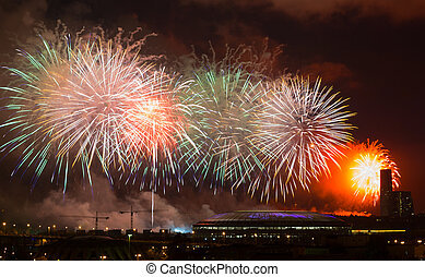 Big fireworks over Luzhniki stadium, Moscow