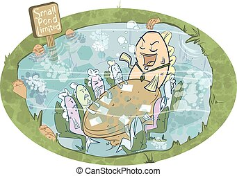 Big Fish Business Meeting - A big fish in a small pond holds...
