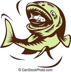 big fish eating a small fry - illustration of a big fish...