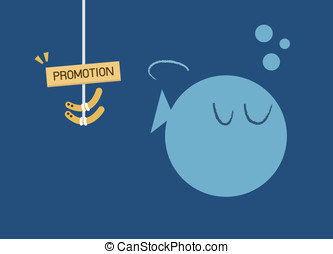 Big Fish ignore to eat worm bait. Promotion business...