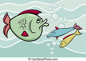 big fish in the sea cartoon illustration