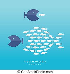 Big Fish Small Fish Teamwork Concept