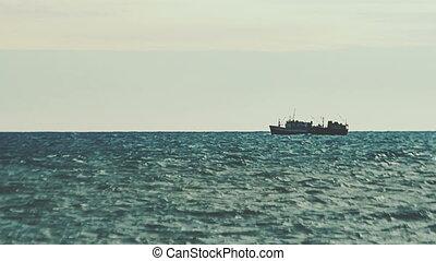 Big fishing ship in the sea