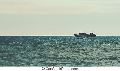 Big fishing ship in the sea