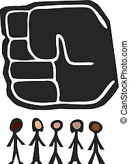 Big Fist Over People - Giant fist of power hangs above a...