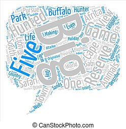Big Five Animals In South Africa text background word cloud concept